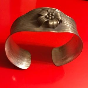 Antique Sterling Silver Floral Bracelet